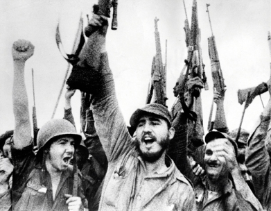 Fidel Alejandro Castro with guerilla fighters in the Sierra Maestra ca. 1958. World History Archive